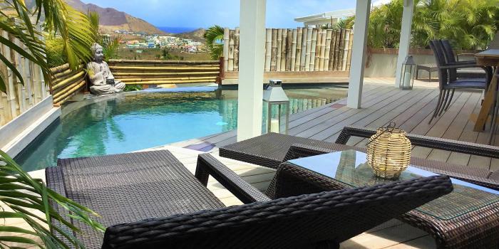 Location villa à St Martin avec vue mer - Vue ensemble
