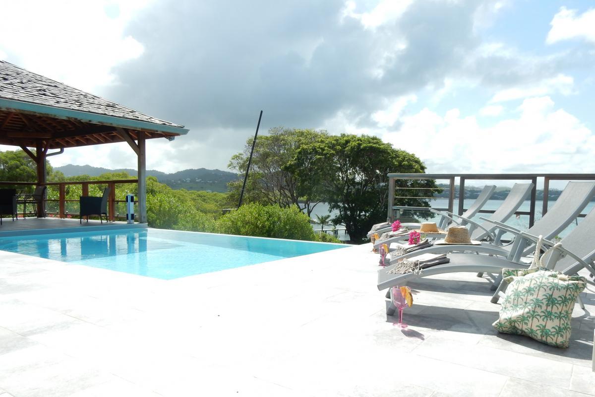 Location villa Martinique - Vue piscine et mer