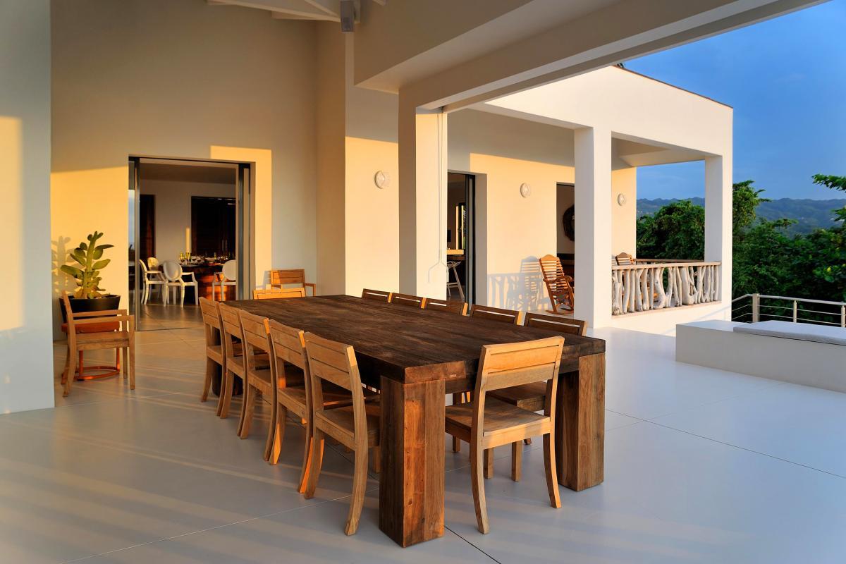 Location villa Las Terrenas - Le coin repas de la terrasse