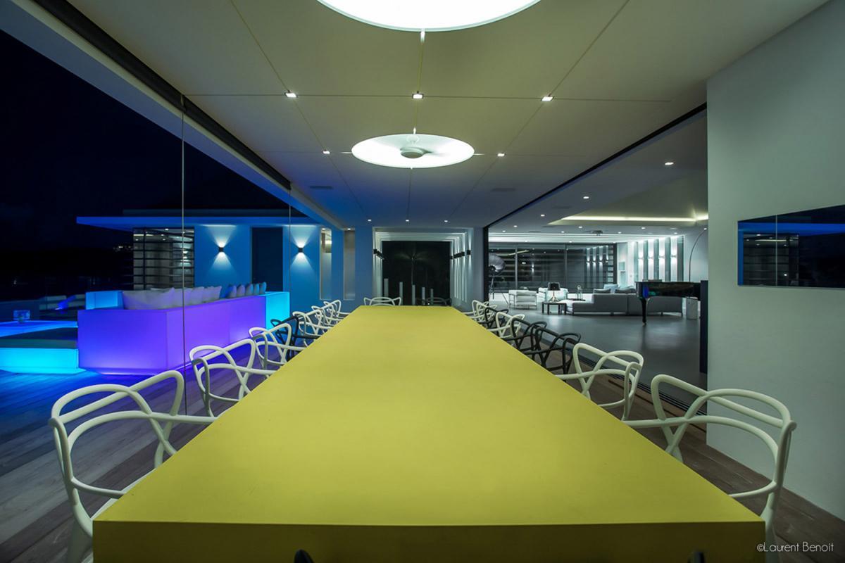 Location villa Flamands - La salle à manger la nuit