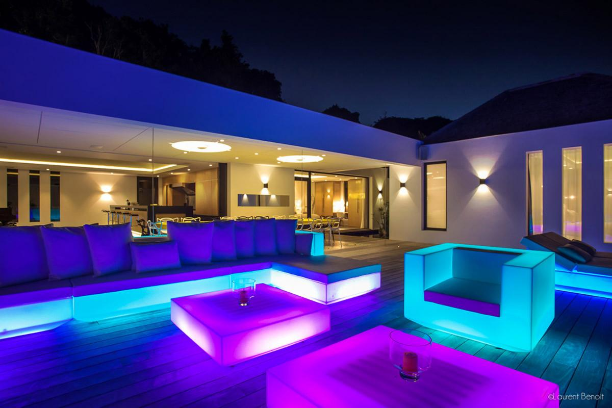 Location villa Flamands - La terrasse la nuit