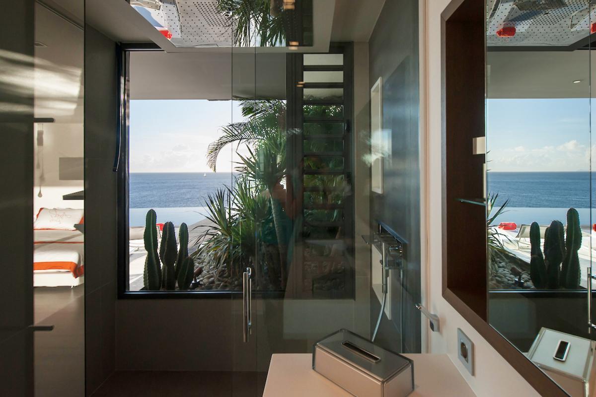 Location villa Gustavia - La salle de douche de la chambre 2