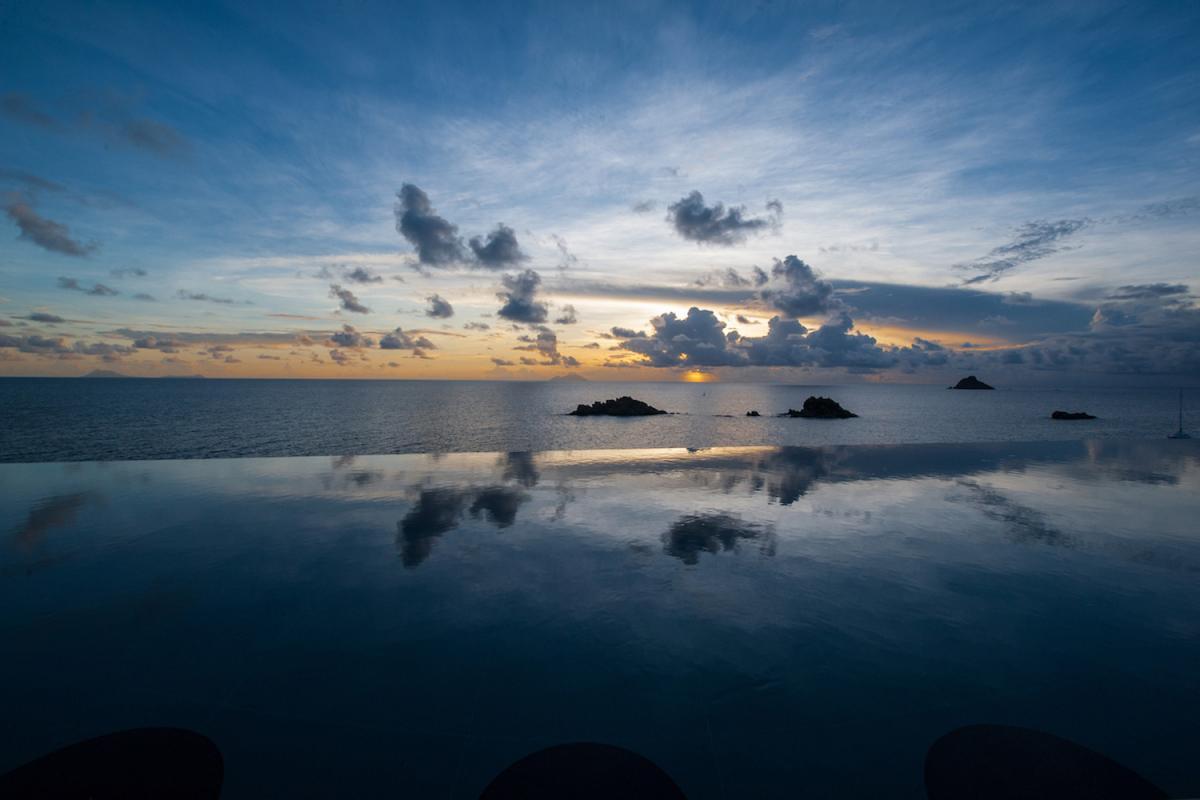 Location villa Gustavia - La vue au coucher du soleil