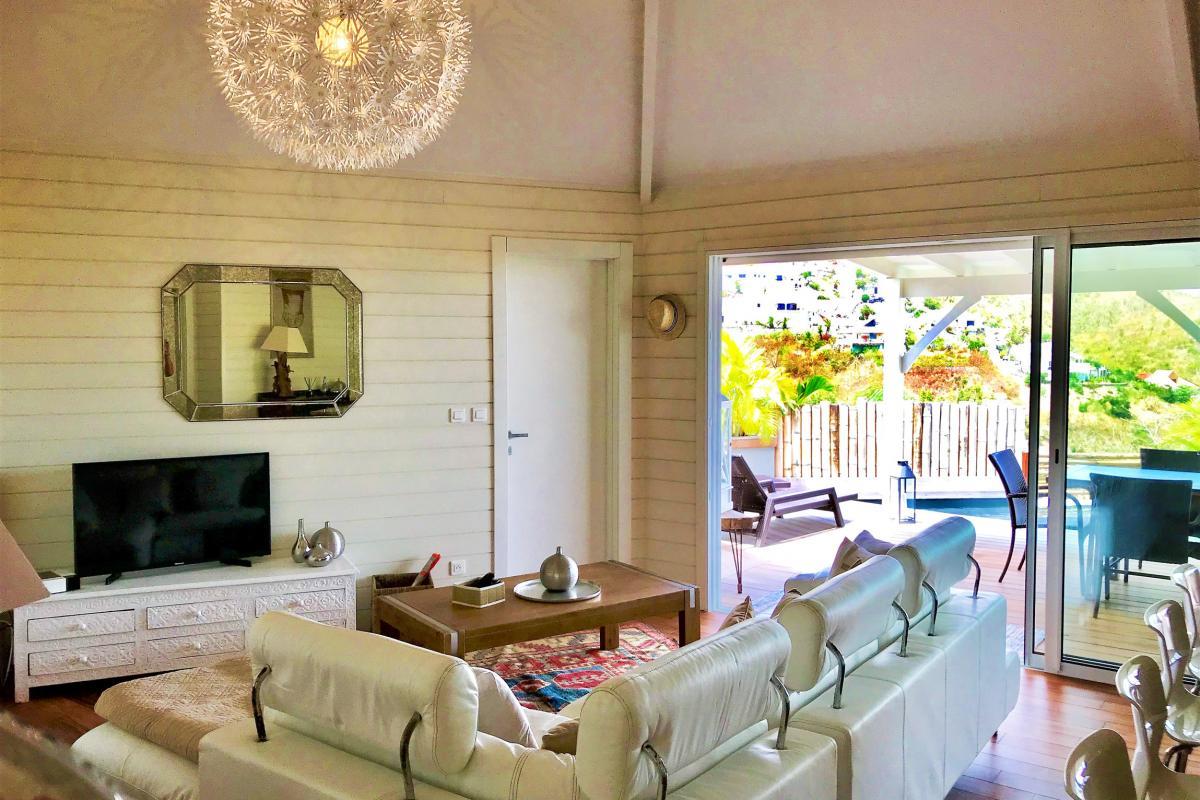 Location villa à St Martin avec vue mer - salon